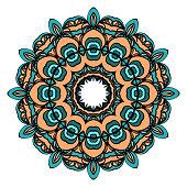 decorative flower sticker. vector illustration. Design element for tattoo, invitation card, yoga symbol, relax therapy