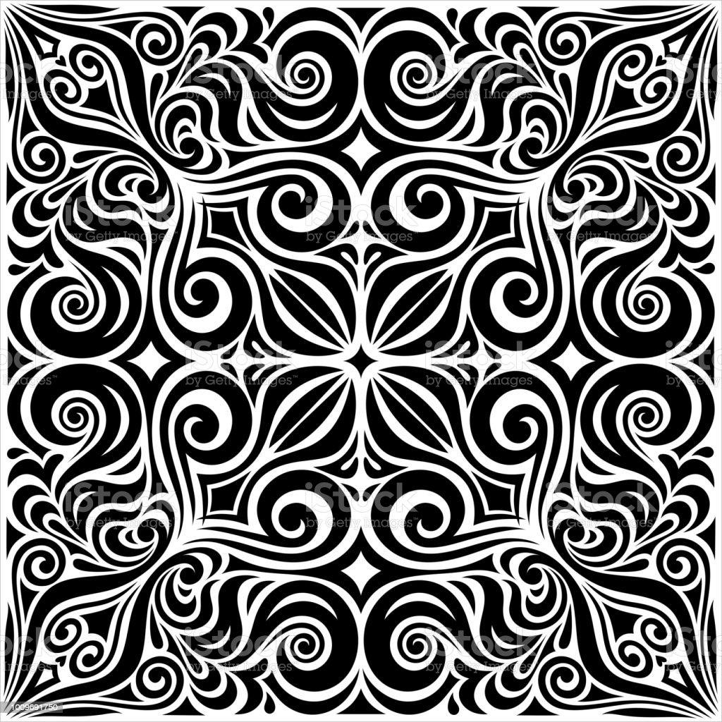 Decorative Flowers In Black White Floral Decorative Ornate