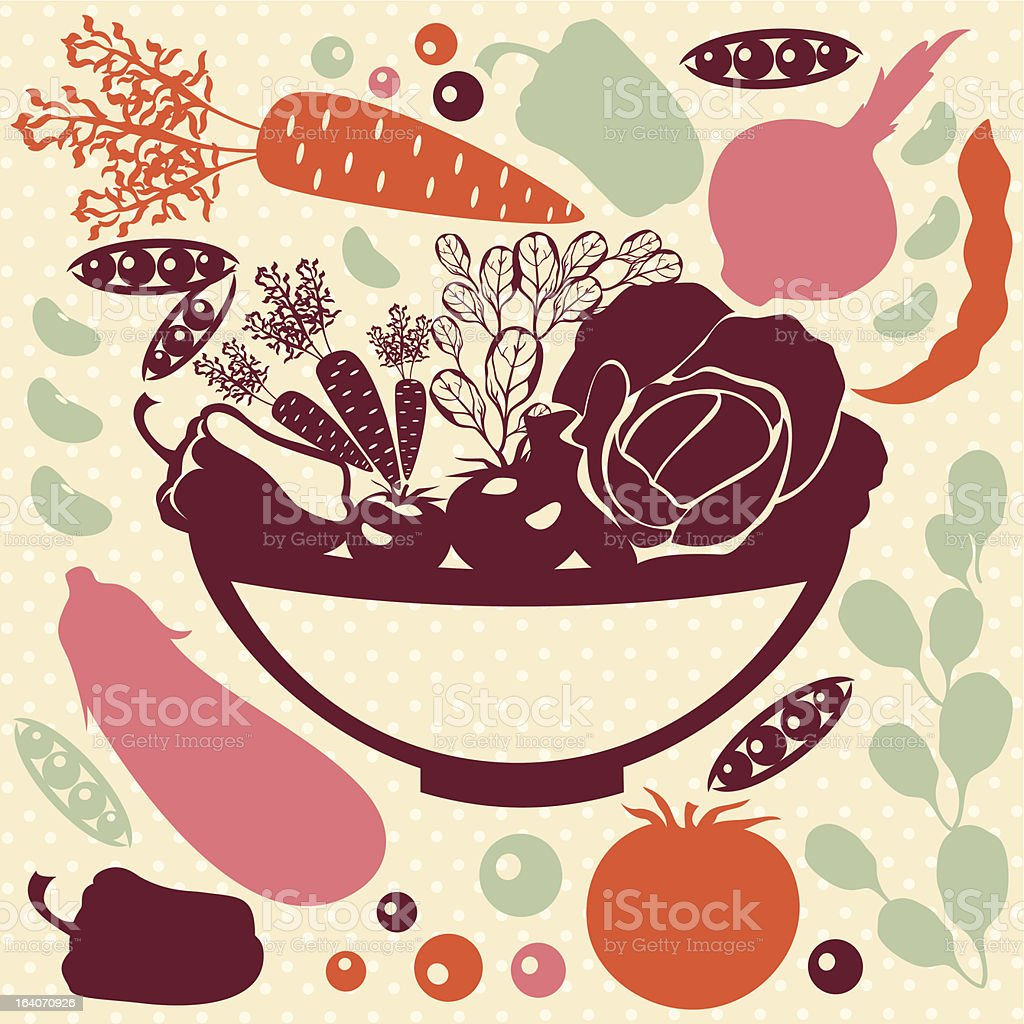 Decorative food icons - vector silhouettes of artistic vegetables. royalty-free stock vector art