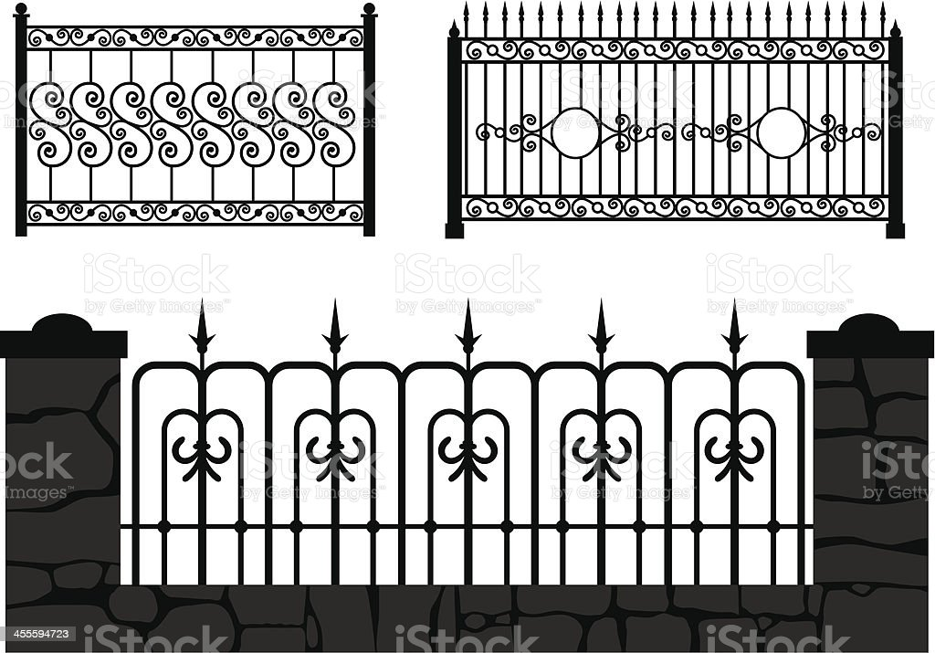 decorative forged fence vector royalty-free stock vector art