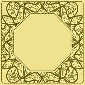 Decorative frame background, geometric ornament with floral decoration, border. Line art, lace, embroidery background. vector