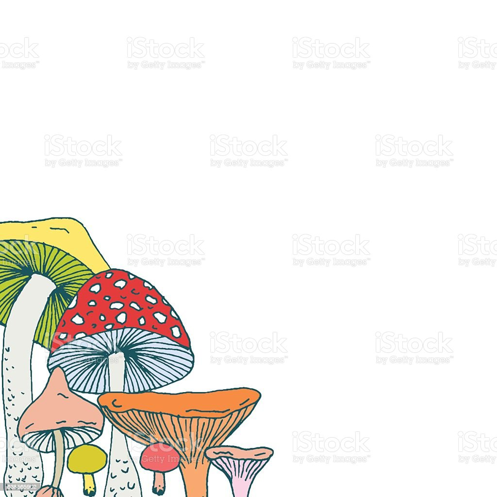 Decorative Frame Design Corner With Forest Mushrooms Stock Vector ...