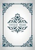Decorative frame. Floral border. Calligraphic ornament. Heraldic symbols. Monogram.