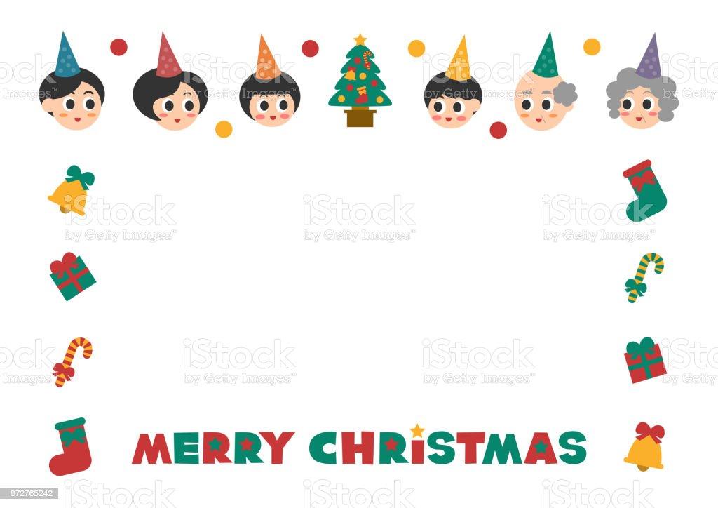 家族 (メリー クリスマス) の装飾的なフレーム ベクターアートイラスト