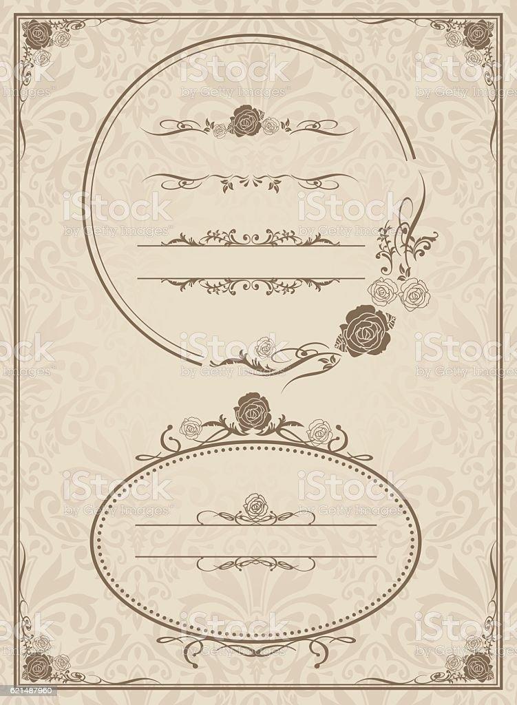 impostare vettoriale di telaio decorativo impostare vettoriale di telaio decorativo - immagini vettoriali stock e altre immagini di calligrafia royalty-free