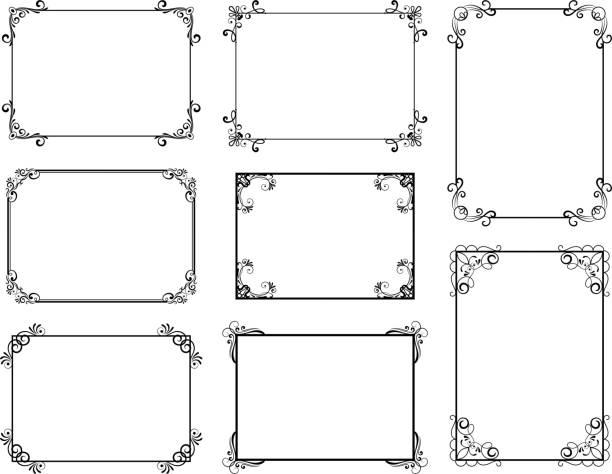 Cadre décoratif avec de vieux tourbillons en filigrane pour le livre de menu. Frontières florales florales élégantes vectorielles de cru - Illustration vectorielle