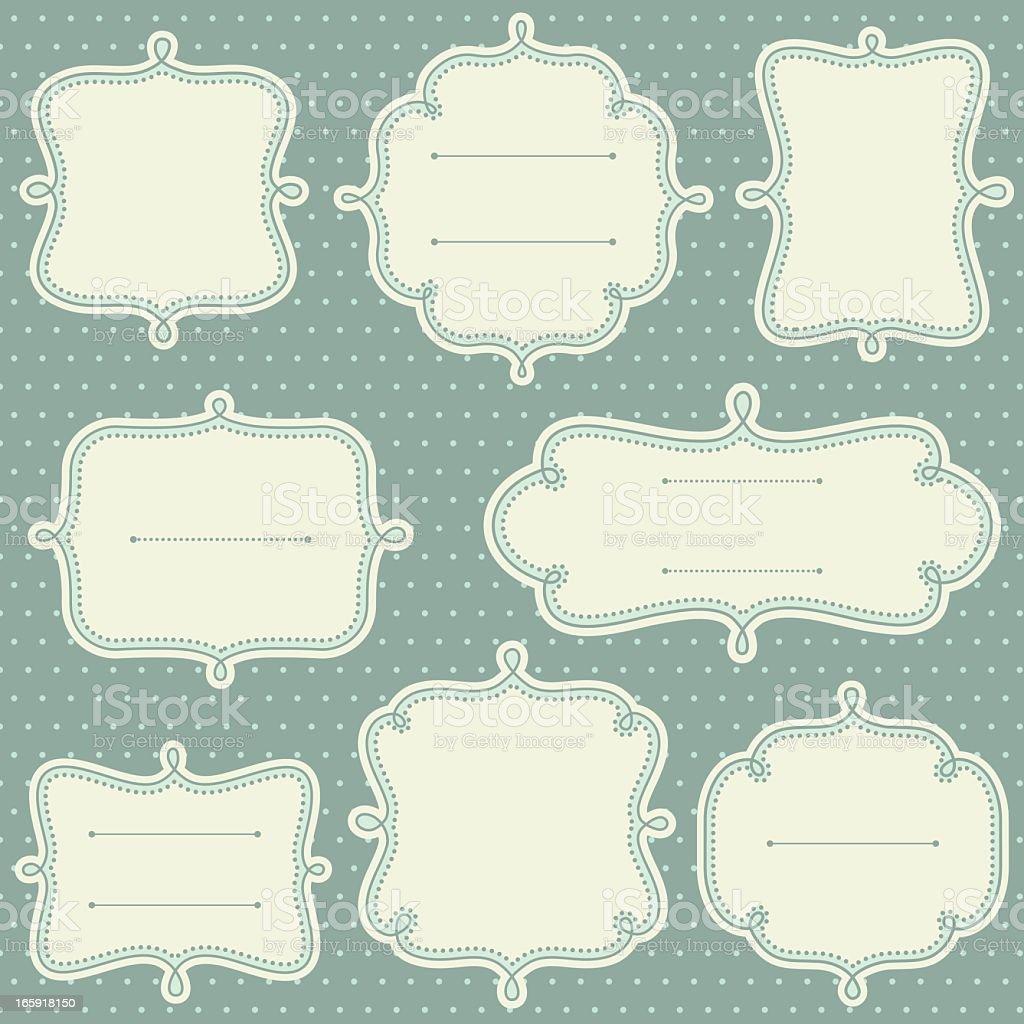 Decorative frame templates in a light teal vector art illustration