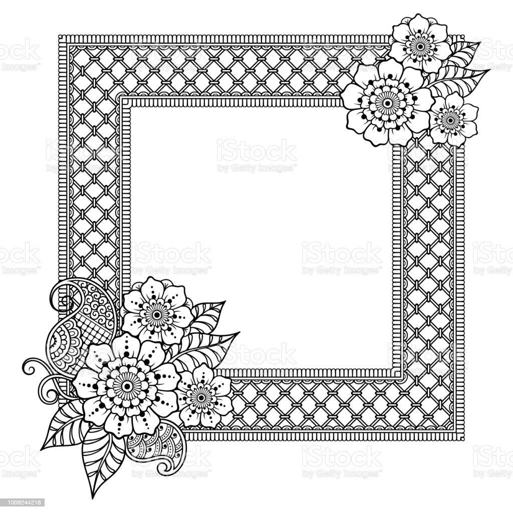 decorative frame with flowers in mehndi style designed in oriental themes indian traditional pattern for