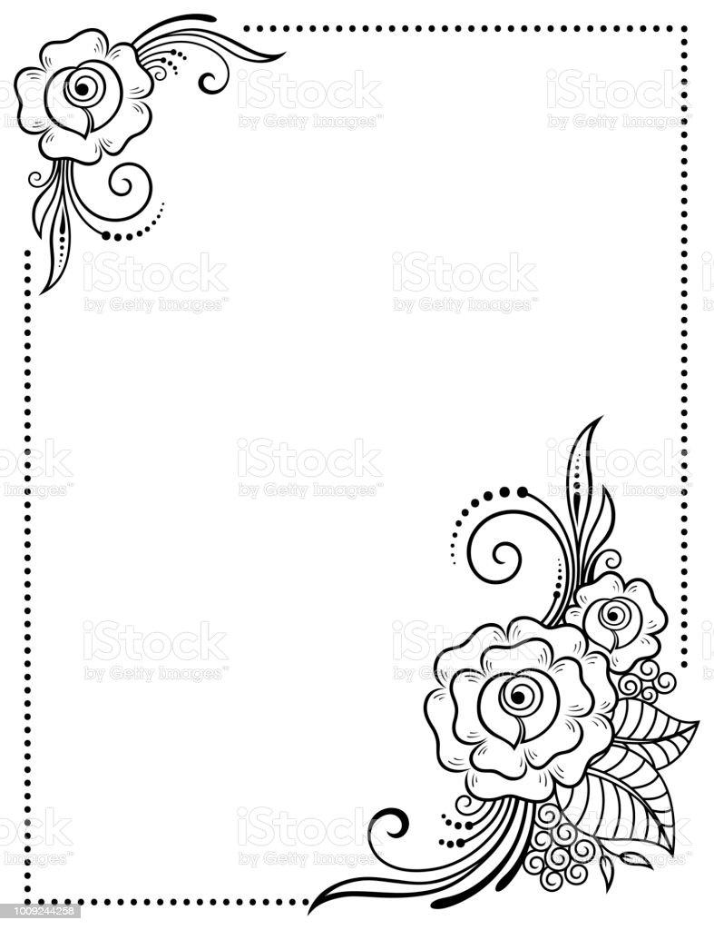 Ilustración De Marco Decorativo De Flores En Estilo Mehndi En Temas