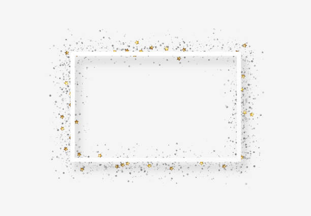 Decorative frame with glitter tinsel of confetti. Decorative frame with glitter tinsel of confetti. Glow border of gold stars and dots points birthday borders stock illustrations