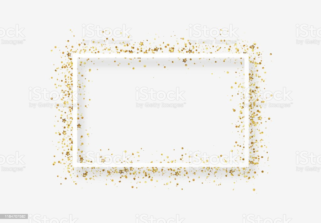Decorative frame with glitter tinsel of confetti. Decorative frame with glitter tinsel of confetti. Glow border of gold stars and dots points Anniversary stock vector