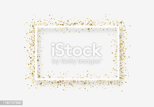 Decorative frame with glitter tinsel of confetti. Glow border of gold stars and dots points