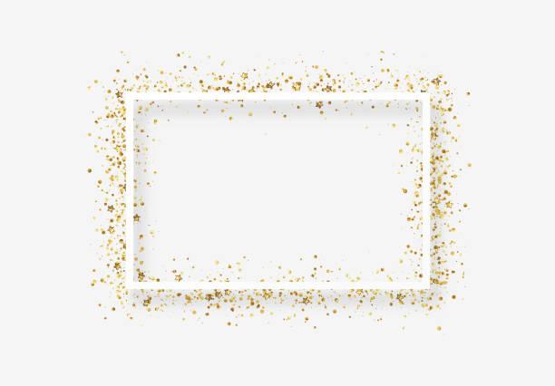 illustrations, cliparts, dessins animés et icônes de cadre décoratif avec tinsel scintillant de confettis. - festivité