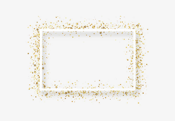 Decorative frame with glitter tinsel of confetti. Decorative frame with glitter tinsel of confetti. Glow border of gold stars and dots points birthday background stock illustrations