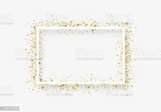 Decorative Frame With Glitter Tinsel Of Confetti Stock Illustration - Download Image Now