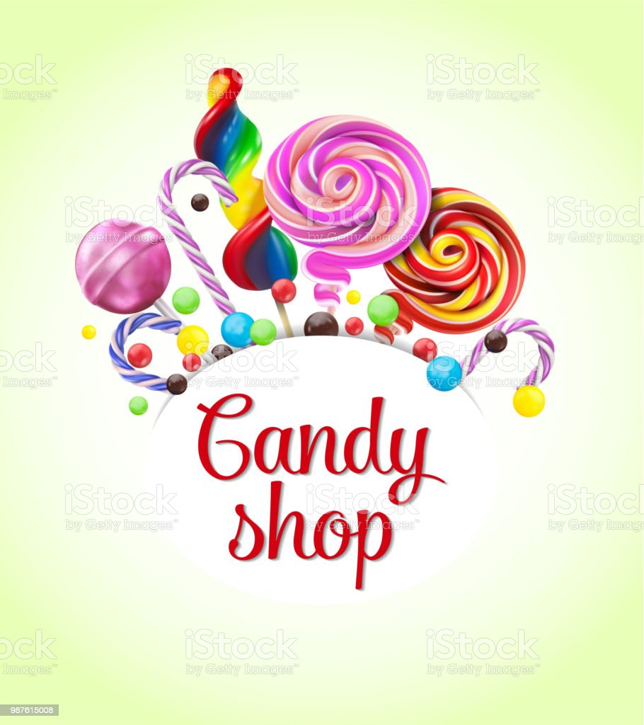 9976c0d650 Decorative Frame With Realistic Candies Colorful Lollipops Of ...