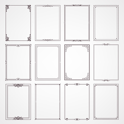 Decorative frames and borders rectangle proportions set stock illustration