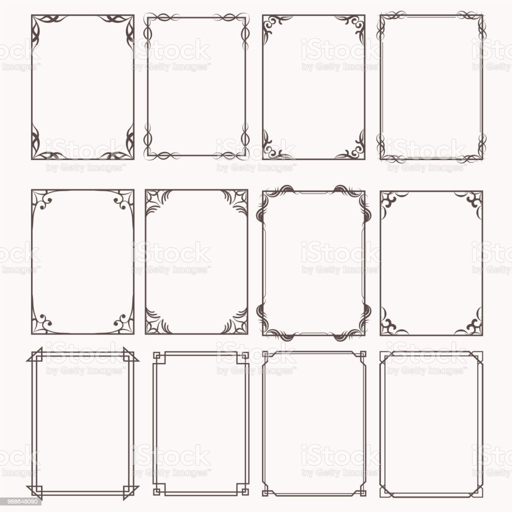 Decorative frames and borders rectangle proportions set royalty-free decorative frames and borders rectangle proportions set stock illustration - download image now