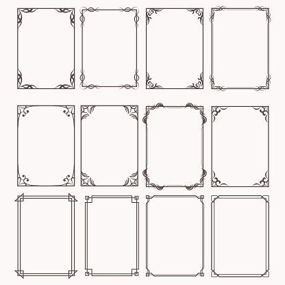 Decorative frames and borders rectangle proportions set