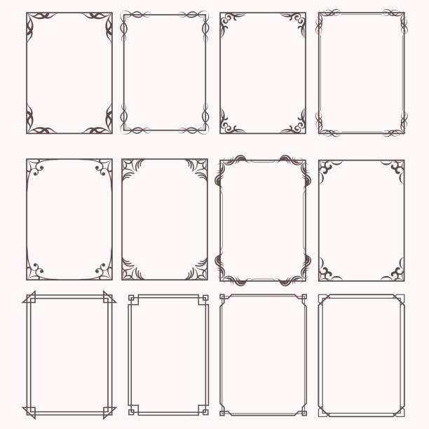 裝飾框和邊框矩形比例集 - 有邊框的 幅插畫檔、美工圖案、卡通及圖標