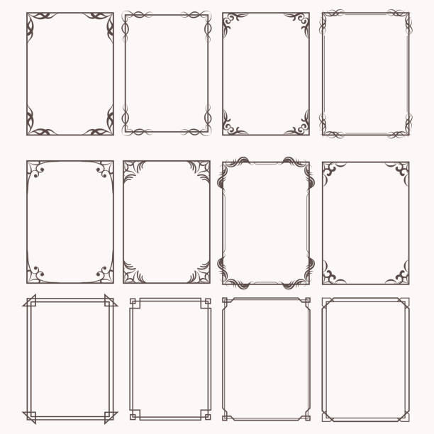 ilustrações de stock, clip art, desenhos animados e ícones de decorative frames and borders rectangle proportions set - enfeitado