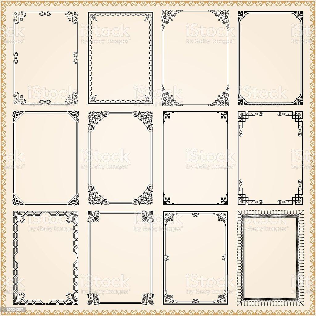 Decorative frames and borders set vector vector art illustration