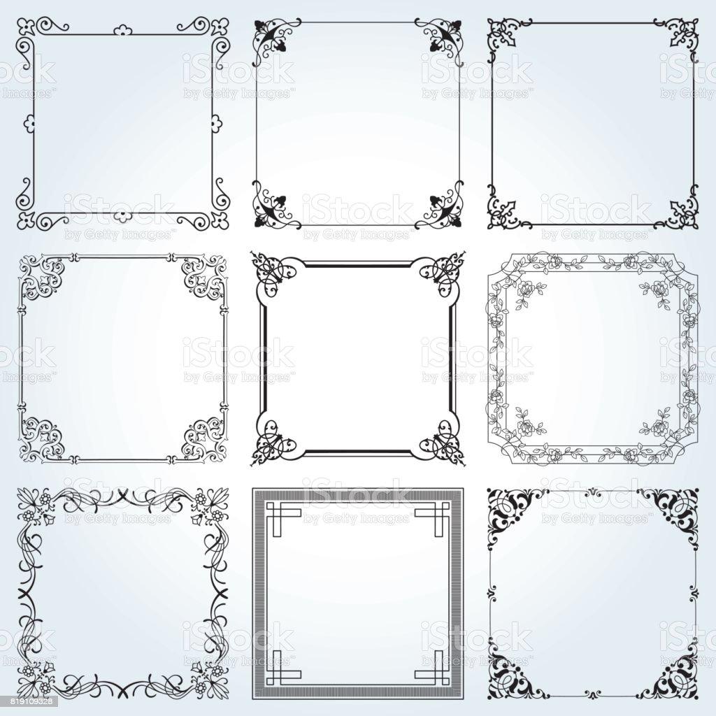 Super Decoratieve Kaders En Randen Vierkant Instellen 3 Vector #QB58