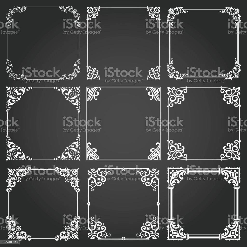 Dekorative Rahmen Und Grenzen Quadrat Gesetzt Vektor Stock Vektor ...