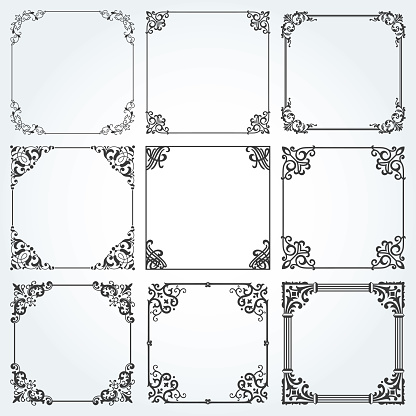 Favoriete Decoratieve Kaders En Randen Plein Instellen Vector #IA05