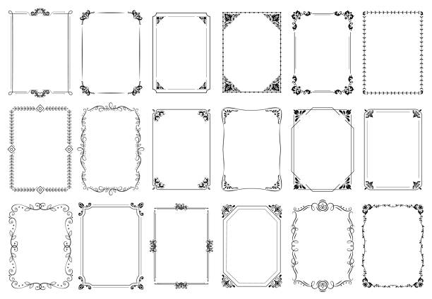 ilustrações de stock, clip art, desenhos animados e ícones de decorative frames. retro ornamental frame, vintage rectangle ornaments and ornate border vector set - vintage