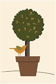 Potted Plant and Bird perching on the pot. Vector Illustration EPS-10