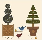 EPS-10, Vector Illustration, Garden Trees in pots and Birds