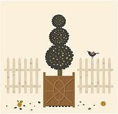EPS-10, Vector Illustration, Garden Tree in pots and Bird. fence