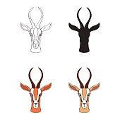 Decorative Gazelle graphic hand drawn vector cartoon doodle animal