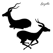 Decorative Gazelle graphic hand drawn vector cartoon doodle animal illustration, running and sitting African safari antelope with curved horns isolated on white background, for mascot design logo