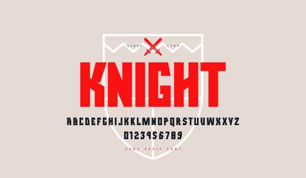 illustrazioni stock, clip art, cartoni animati e icone di tendenza di decorative geometric sans serif font - mascolinità