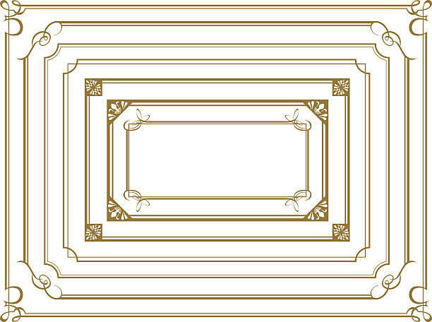 decorative gold frame set vector - dekoratif stock illustrations, clip art, cartoons, & icons