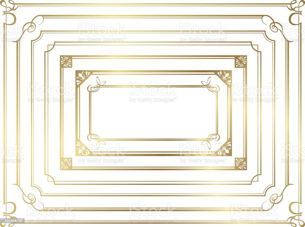 frame set Vector décoration or - Illustration vectorielle