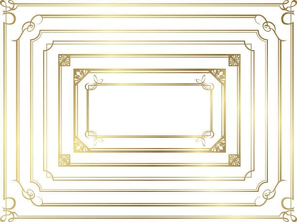 illustrations, cliparts, dessins animés et icônes de frame set vector décoration or - charpente