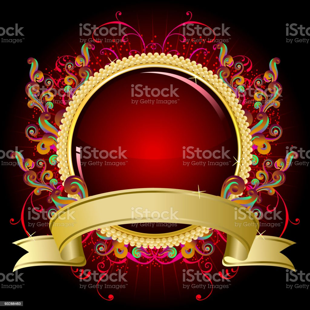Decorative Gold Frame with Banner royalty-free stock vector art