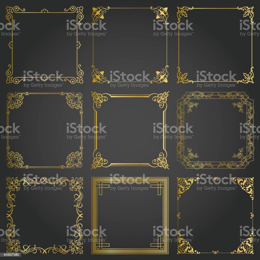 Dekorative Gold Rahmen Und Grenzen Quadrat Gesetzt Vektor Stock ...