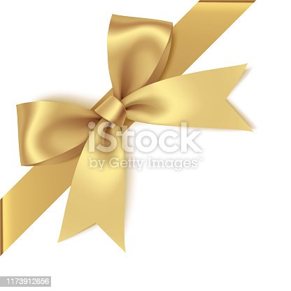 istock Decorative golden bow with diagonally ribbon on the corner. Vector bow for page decor 1173912656