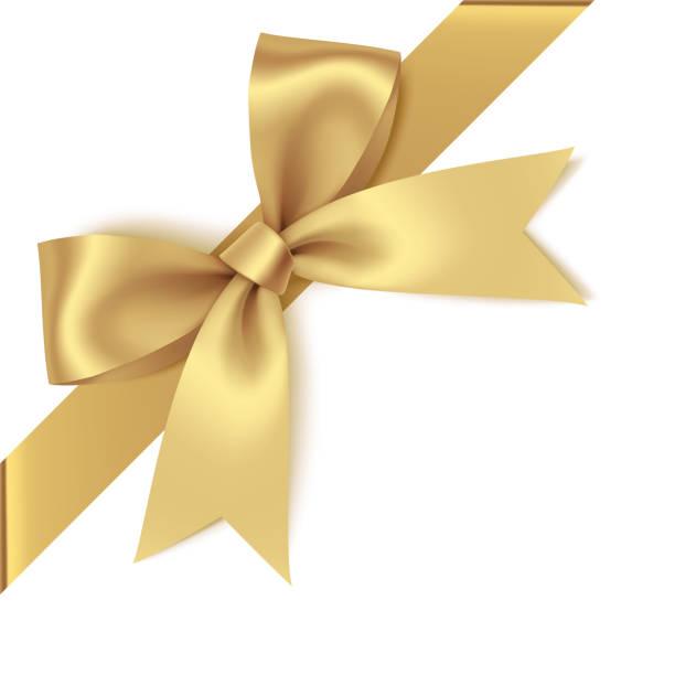 ozdobna złota kokarda z ukośnie wstążką na rogu. łuk wektorowy do wystroju strony - gift stock illustrations