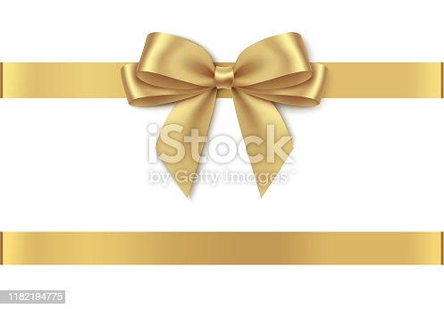 istock Decorative golden bow with horizontal ribbon isolated on white background. 1182194775