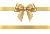 istock Decorative golden bow with horizontal ribbon isolated on white background. 1182194775