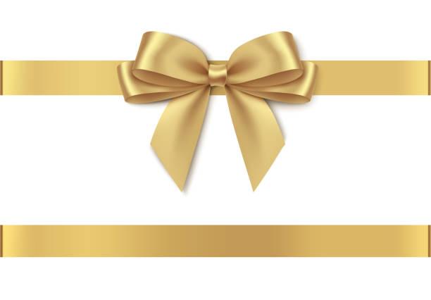 ozdobna złota kokarda z poziomą wstążką izolowana na białym tle. - gift stock illustrations