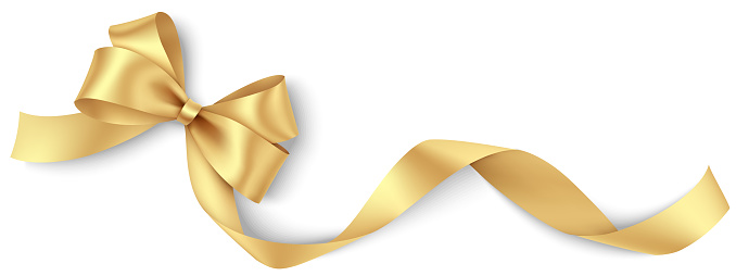 Decorative golden bow with long ribbon isolated on white background. Holiday decoration