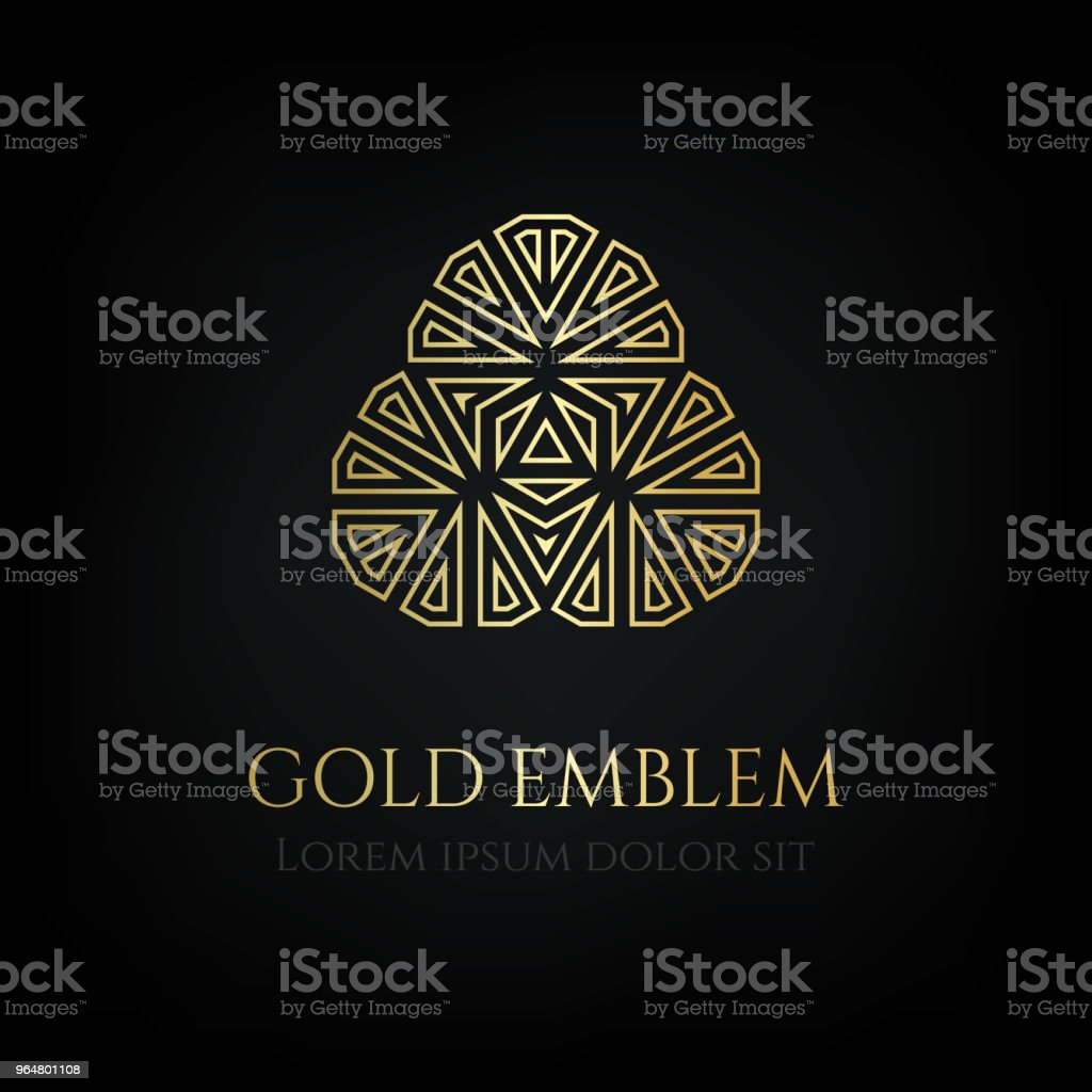 Decorative golden round emblem. Ornamental vector motif. royalty-free decorative golden round emblem ornamental vector motif stock illustration - download image now