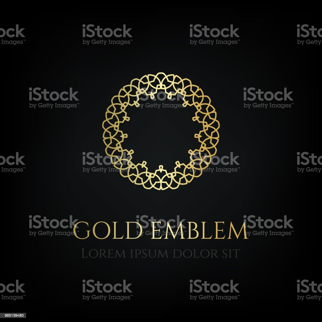 Decorative golden round emblem. Ornamental vector motif. decorative golden round emblem ornamental vector motif - stockowe grafiki wektorowe i więcej obrazów butik royalty-free