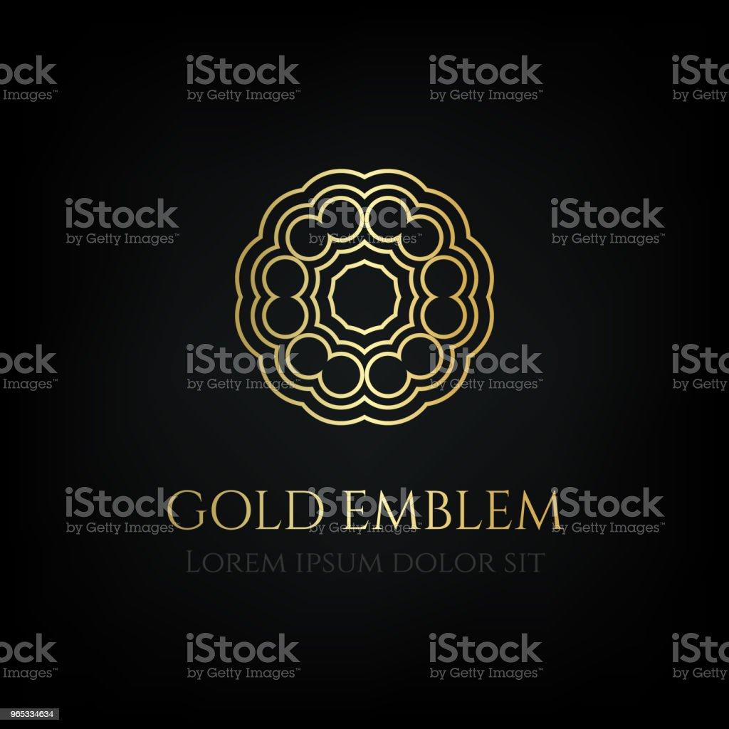 Decorative golden round emblem. Ornamental vector motif. royalty-free decorative golden round emblem ornamental vector motif stock vector art & more images of badge
